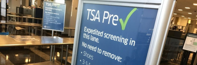 TSA airport screening checkpoint sign.