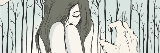 Original illustration of girl trying to hide from aggressive hands.