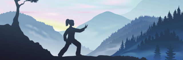 illustration of woman practicing tai chi in the mountains
