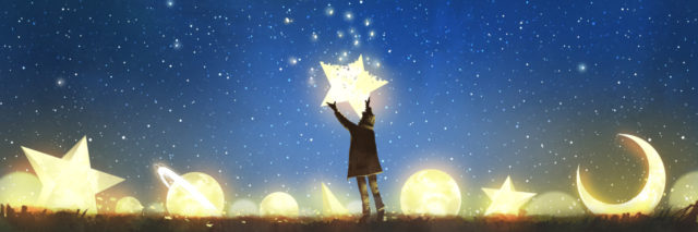 Person reaching for a crumbling star.
