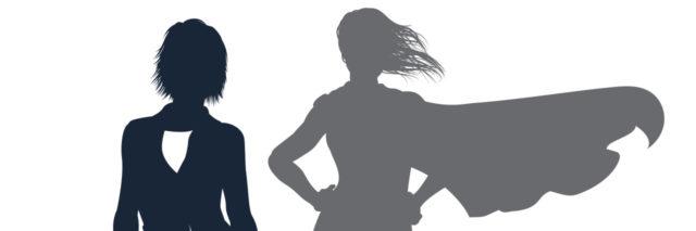Superhero shadow woman.
