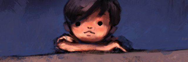 Digital painting of boy on top of concrete wall, oil on canvas.