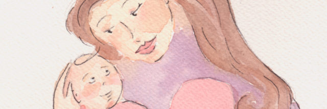 Watercolor image of mother holding a baby.