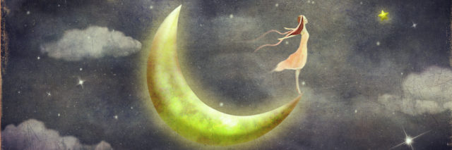 Woman standing on the moon looking up at the stars.