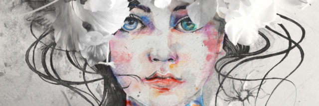Drawn watercolor of woman face decorated with real colorful flowers.