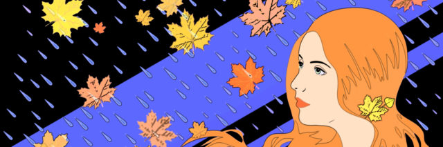 Sketch of a woman in the autumn rain.
