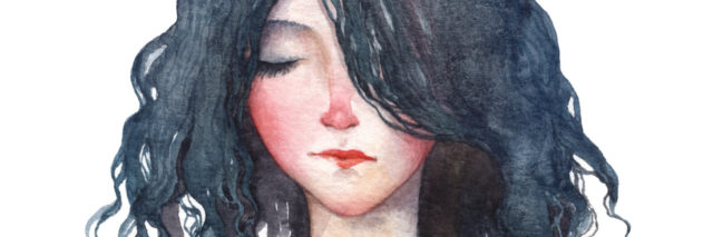 A watercolor paining of a girl with trees growing out of her hair