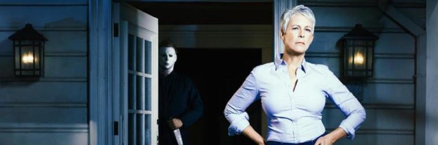 Jamie Lee Curtis in new Halloween movie sequel with serial killer in background