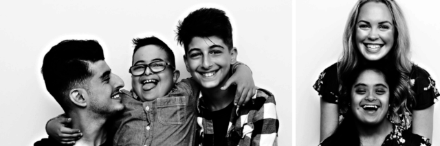 Two black and white images from the photo shoot: One is a boy with Down syndrome hugging two friends or siblings, he is in the middle, all are smiling at camera. Second is a woman with Down syndrome hugged from behind by a friend.