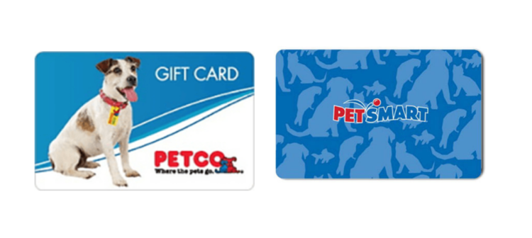A Petco gift card next to a PetSmart gift card