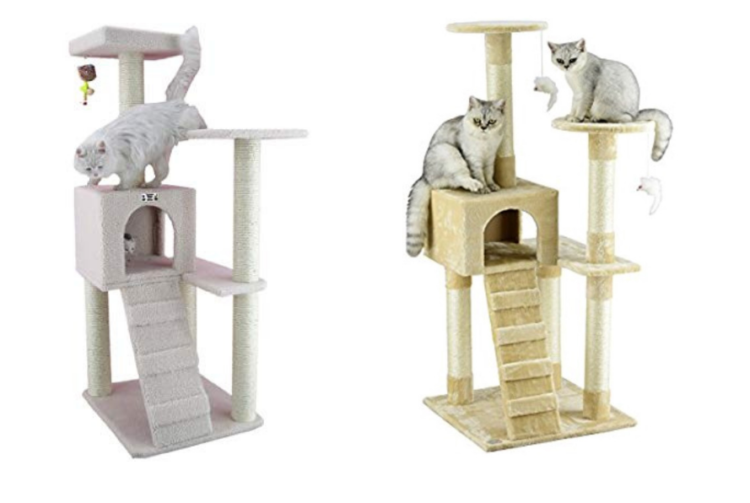 Two cat trees side by side.