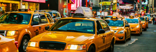 Taxis on 7th Avenue in Times Square, New York City