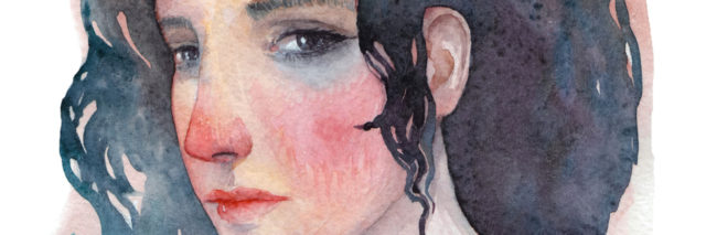 A watercolor portrait of a woman with a sad expression on her face
