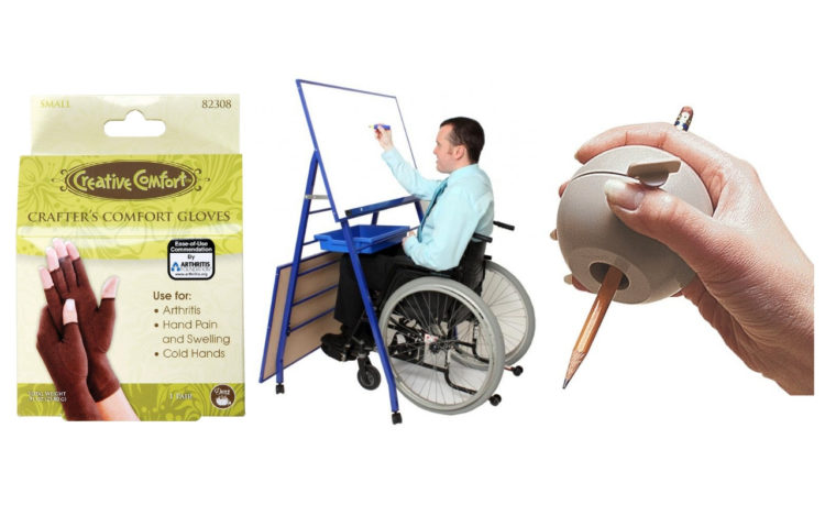 Crafting gloves, accessible easel for wheelchair users and hand aid ball-shaped grip to hold pencils