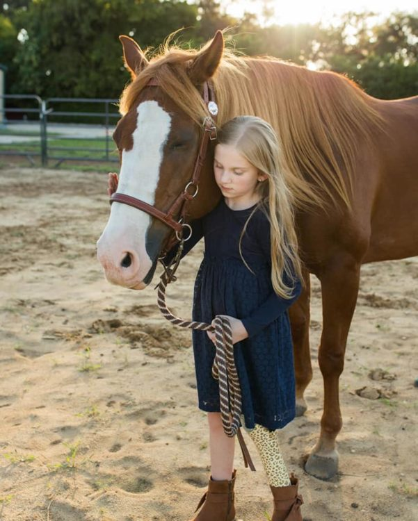 Callie and Jazzy the horse.