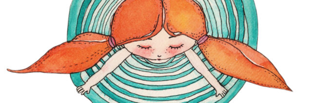 illustration of girl with orange pigtails in the center of turquoise concentric circles