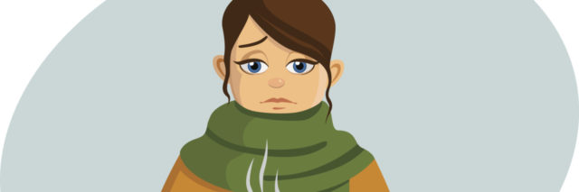 illustration of a woman wearing a sweater and a scarf, holding a cup of coffee, and frowning