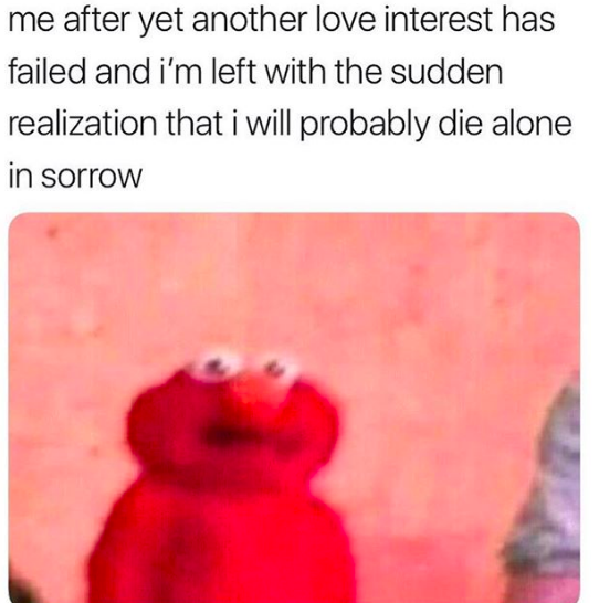Me after yet anither love interest has failed and I'm alone meme