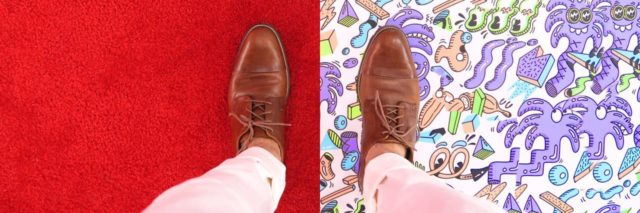 photo of person's standing looking down at shoes either side of floor with plain flooring on one side and vibrant on the other