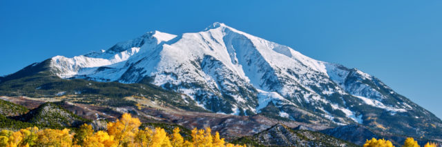 Mount Sopris autumn landscape in Colorado. Rocky Mountains, USA.