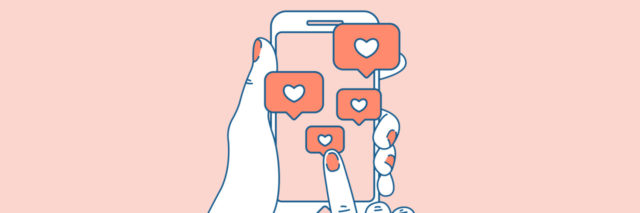 drawing of hands holding phone with hearts coming out of phone