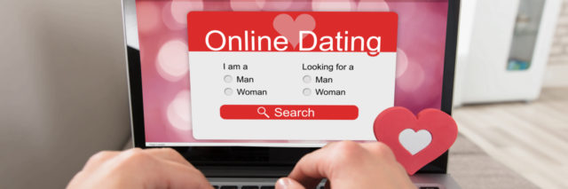 Person using online dating website on laptop.