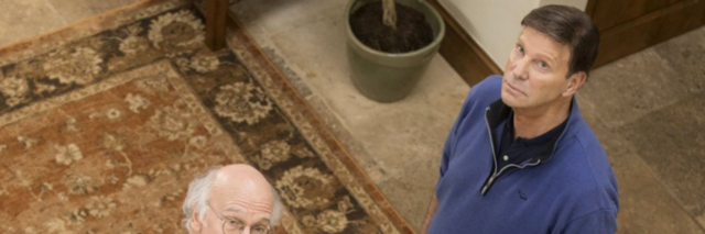 """Larry David and Bob Einstein looking up at the ceiling in """"Curb Your Enthusiasm"""""""