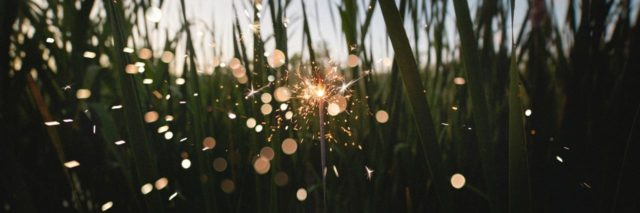 close up point of view photo of person holding sparkler in field at dusk