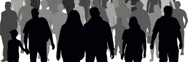 image of people walking together in a crowd, illustration