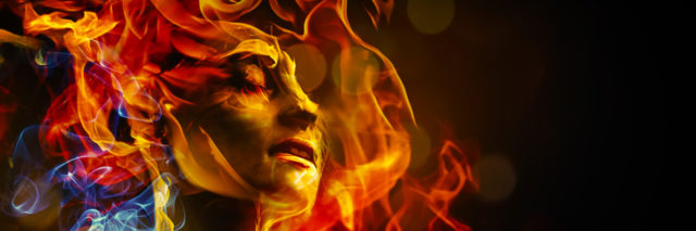 Illustration of woman's face made with fire.