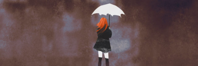 An illustration of a woman holding a umbrella