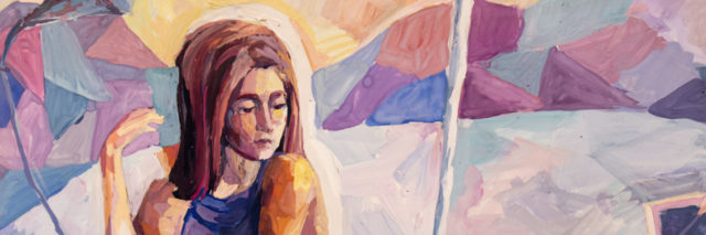 Watercolor painting of woman looking down at deflated balloon
