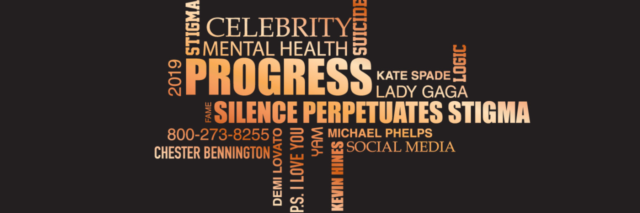 """word cloud that features key words from the author's article, such as """"progress,"""" """"silence perpetuates stigma"""" and """"mental health"""""""