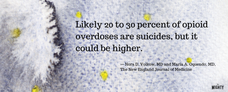 Likely 20 to 30 percent of opioid overdoses are suicides, but it could be higher. — Nora D. Volkow, MD and Maria A. Oquendo, MD, The New England Journal of Medicine