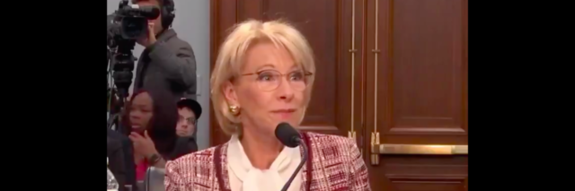 Betsy Devos screenshot from Rep. Mark Pocan's twitter video