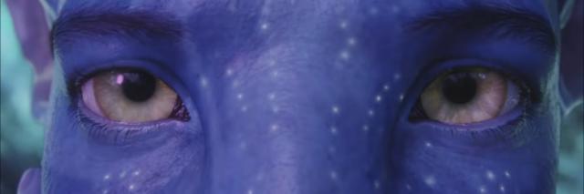 screenshot of movie avatar showing blue alien eyes