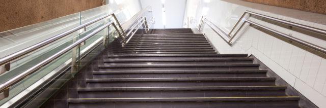 Stairs at a subway station.