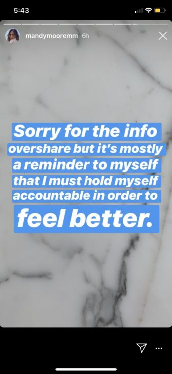 mandy moore instagram saying she is sharing as a reminder to hold herself accountable