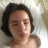 Split screen of Julia in the hospital and Julia now.