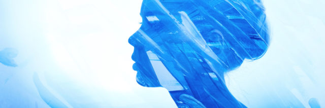 blue watercolor painting of a woman's profile