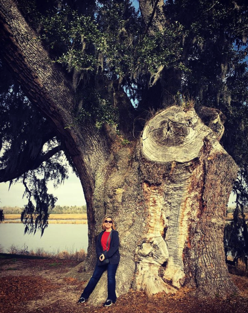 woman standing in front of a 900-year-old tree