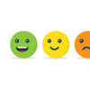 Emotion balls icon. Concept of positive and negative feedback.