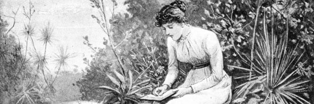 Victorian woman writing. Taken from the the English Illustrated Magazine 1892.
