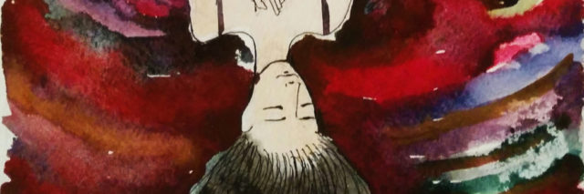A watercolor of an upside down woman with her hair handing down