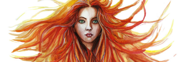 Watercolor of a woman with red hair