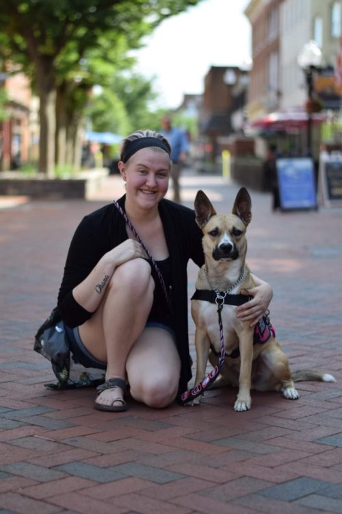 woman with her service dog