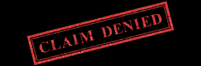 Red Claim Denied stamp on black background