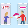 Illustration: A man handing a woman flowers, who is unsure.