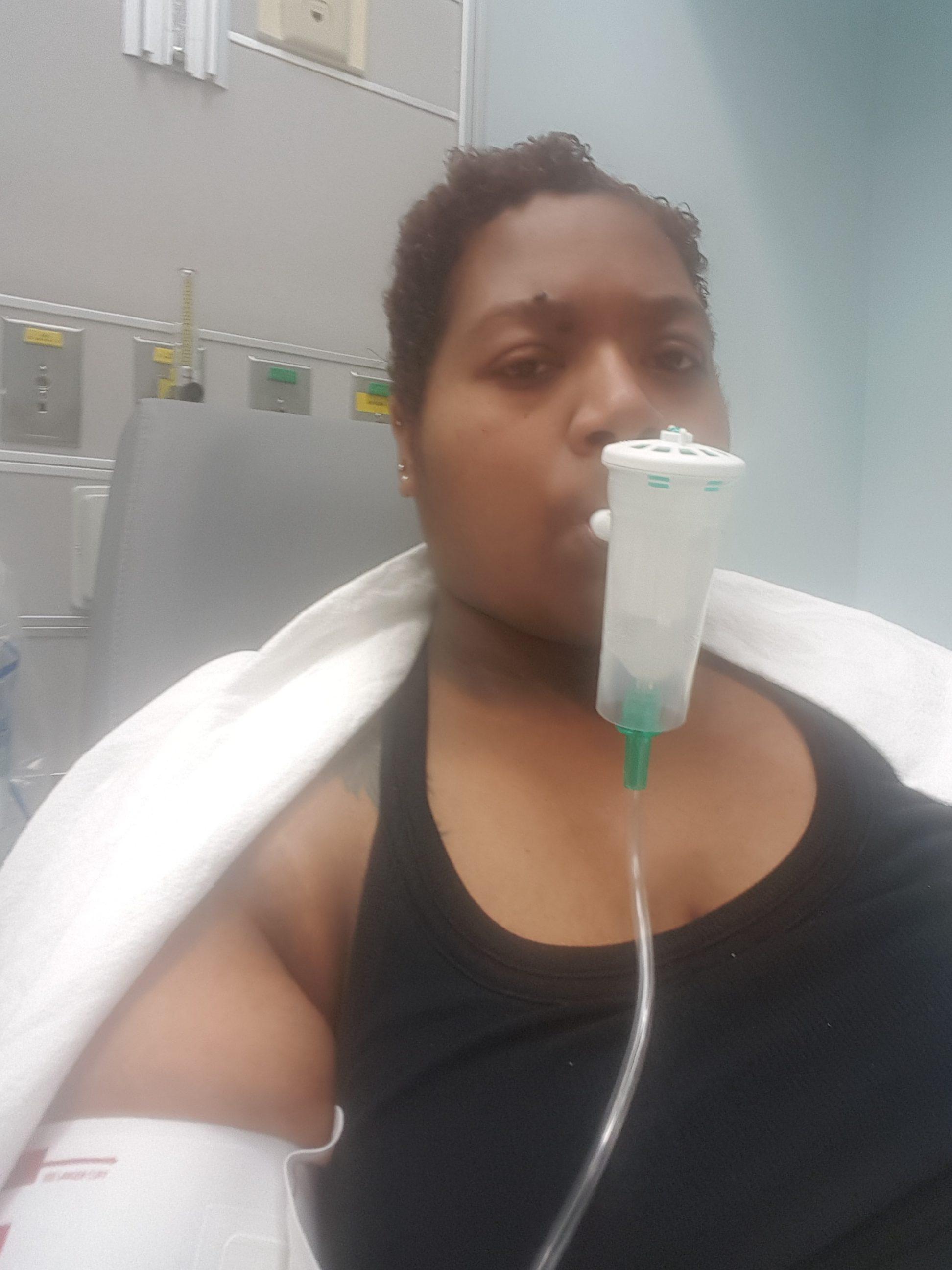 Jae being treated for pneumonia.