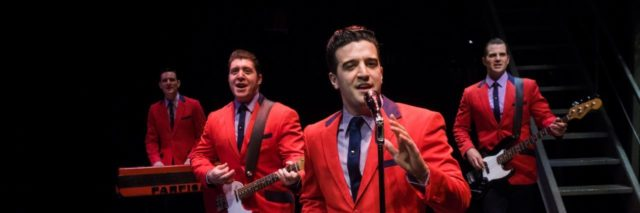 """L-R: Cory Jeacoma, Matthew Dailey, Mark Ballas and Keith Hines in the national tour of """"Jersey Boys,"""" which plays May 16 through June 24, 2017, at Center Theatre Group/Ahmanson Theatre. For tickets and information, please visit CenterTheatreGroup.org or call (213) 972-4400. Media Contact: CTGMedia@CTGLA.org / (213) 972-7376. Photo by Jim Carmody."""